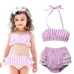 53a85c6c457a3 Toddler Kid Baby Girls Swimwear Beachwear Summer Ruffles Stripe Two Piece  Bikini Bathing Suit Swimsuit Baby Swimming Clothing