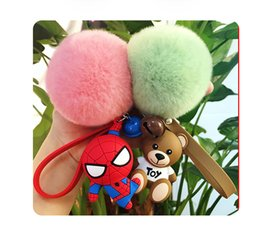 Metal rubber keychain online shopping - The Avengers Spiderman Couple key chain bell couple Keychain Car Key Holder Acrylic Bell Anime Key Chain Bag Pendant Bts Accessories Girl Gi