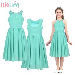 201ce51700 Iiniim Girls Costumes Chiffon Dress Flower Shaped Rhinestone Halter Neck  For Kids Teen Weeding Party Vestidos Princess Dress Y190518