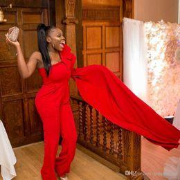 $enCountryForm.capitalKeyWord Australia - Hot Selling Red Evening Dress Jumpsuit Prom Dresses One Shoulder Ruffles Pocket Ankle Length Outfit Red Carpet Celebrity Dress