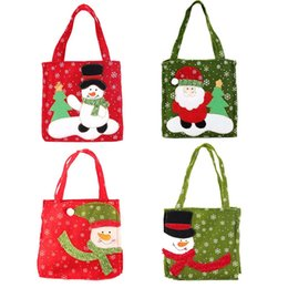 holiday chocolate gifts Australia - Christmas Holiday Gift Bags Holder Christmas Santa Claus Snowman Pattern Decoration Candy Cookies Tote Bag Supplies