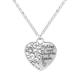 $enCountryForm.capitalKeyWord Australia - Hollow Flower Love Heart Pendant Necklaces Mother and Daughter Forever English Letters Necklace Women Ladies Cheap Jewelry Gift