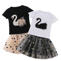 Baby Girls 3d Tutu Australia - Summer Baby Girl Flamingo TUTU Skirt Set Fashion Children 3D Swan T Shirt Top+Star Lace Dress 2pc Suit Kid Boutique Outfit Clothes