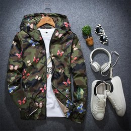 55a6674ae2e08 Mens Camouflage Hoodie Jacket 2019 New Autumn Butterfly Print Casual  Clothes Men's Hooded Windbreaker Coat Male Outwear S-XXXL