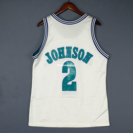 100% Stitched Larry Johnson  2 Sewn Champion Jersey White Mens Vest Size XS-6XL  Stitched basketball Jerseys Ncaa 11ef5268b