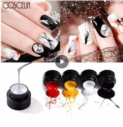 black white line painting 2019 - COSCELIA Nail Art Painting UV Nail Gel Polish Lacquer Pull Line Draw Varnish Pure Color Acrylic Soak Off Manicure Decora
