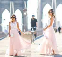 Discount long empire waist bridesmaid dresses - 2020 White Lace Pink Bridesmaid Dresses Cheap Sheer Neck Lace Hollow Back Chiffon Empire Waist Prom Evening Party Dress
