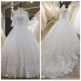 $enCountryForm.capitalKeyWord NZ - Sweetheart Short Sleeves Lace Appliques 2019 Modest Wedding Dresses Formal Bridal Gowns Beading Robe De Marriage Customized Formal Wear