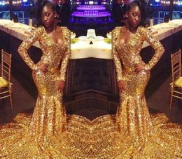 holiday evening gowns floor length Australia - Gold Color Prom Dresses Sexy Mermaid Long Sleeves Pageant Holidays Graduation Wear Formal Evening Party Gowns Plus Size