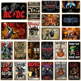 Discount rock band stickers - Rock ACDC Band Vintage Metal Signs AC DC Music Club Advertising Plaque Bar Cafe Pub Casino Decor Wall Sticker Painting P