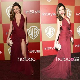 6bf94a6c37003 Miranda Kerr Sexy Side Slit Mermaid Prom Dresses Long Deep V Neck Sweep  Train Celebrity Party Dress Zuhair Murad Burgundy Evening Gowns