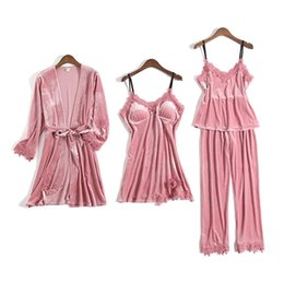 women velvet clothes NZ - Gold Velvet Pajamas For Women 4 Pieces Winter Suit Home Clothes Woman Sexy Lace Robe Pajamas Sets Sleepwear Sleeveless Nightwear T200110