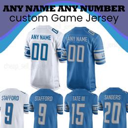 cb608edcb1e Customized Detroit 9 Matthew Stafford Lion 20 Barry Sanders jersey Mens 15 Golden  Tate III 23 Darius Slay jr Football Jerseys