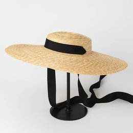 a95f7c104fe Women Natural Wheat Straw Hat Ribbon Tie 15cm Brim Boater Hat kentucky  Derby Beach Sun Hat Cap Lady Summer Wide Brim UV Protect Hats Holiday