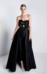 $enCountryForm.capitalKeyWord Australia - 2019 New Black Jumpsuits Prom Dresses with Detachable Train Bow Sweetheart Celebrity Evening Party Gowns Women Pantsuits prom