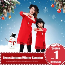 $enCountryForm.capitalKeyWord NZ - Mom And Daughter Dress Autumn Winter Warm Red Lace Splice Sweater Family Matching Outfits Fashion Knitting Mommy And Me Clothes J190514