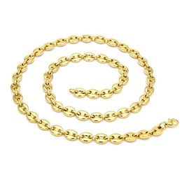 $enCountryForm.capitalKeyWord NZ - Hot Sale Silver Gold Color Stainless Steel Coffee Beans Link Chain Necklace and Bracelet Jewelry Set For Women Men