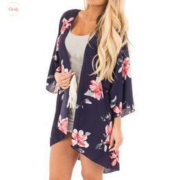 Top condiTion online shopping - Beach Feitong Wear Cover Up Tops Women Chiffon Flower Print Tassels Suit Cover Sunscreen Air Conditioning Smock Kimono Pt