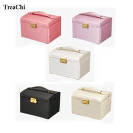 locking storage boxes Australia - Fashion Three Layer Luxury PU Exquisite Makeup Case With Lock and Mirror Travel Jewelry Organizer Storage Collection Gift Box