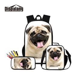 Dog Zipper Australia - Pug Dog Printed School Bag with Cooler Pen Bags Set for Children Cute Book Bag Satchel Girls Lovely Backpack Pattern Pencil Case