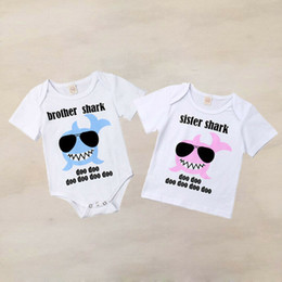 Baby Girl Summer Suits Australia - Sister Brother Matching Outfits Baby Boys Girls Brother Romper Sister T-shirt Cotton Short Sleeve Shark Printed Summer Clothes
