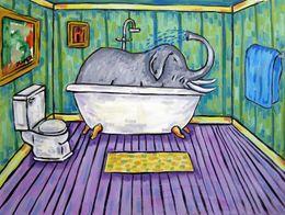 $enCountryForm.capitalKeyWord Australia - Animals Art Elephant In Bathroom , Oil Painting Reproduction High Quality Giclee Print on Canvas Modern Home Art Decor
