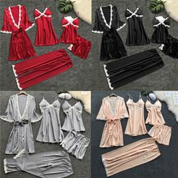 Black kimono dressing gown online shopping - Fashion Casual Loose Solid Set Personalized Silk Wedding Bath Kimono Robe Bridesmaid Bride Dressing Gown Summer Clothes