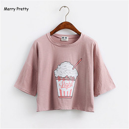 Cropped Tees Australia - Merry Pretty Summer New Harajuku Women T Shirt Ice Cream Korean Style Cotton Loose Crop Top Kawaii T-shirt Female Funny Tee Tops Q190522