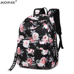 Ladies Laptop rucksack online shopping - Fashion Water Resistant Nylon Women Backpack Flower Printing Lady School Rucksack Girls Daily College Laptop