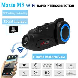 bluetooth interphone riders NZ - Maxto M3 Motorcycle Group 6 Riders Moto Intercom Bluetooth & WIFI Recorer Helmet Interphone with Dash Camera HD Sony 1080P Lens