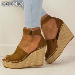 $enCountryForm.capitalKeyWord Australia - Spring Women Sandals Casual Linen Canvas Wedge Platform Buckle Ankle Strap High Heel Platform Pump Espadrilles Ladies Shoes 608w Y19070103