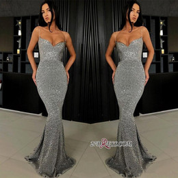 Grey sequin red carpet dress online shopping - Sexy Spaghetti Mermaid Evening Party Dresses Shiny Sparkly Sequins Backless Full length Trumpet Silver Grey Prom Pageant Gown