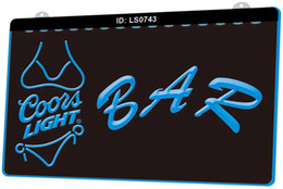 lite signs Australia - LS0743 Bar Coors Lite Bikini New 3D Engraving LED Light Sign Customize on Demand Multiple Color