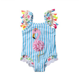 Swimwear Infant Australia - Infant Kids Girls Cartoon Flamingo Printed Bikini Baby Girls Tassel Blue Striped Swimwear One-piece Swimsuit Beach Bathing Suit