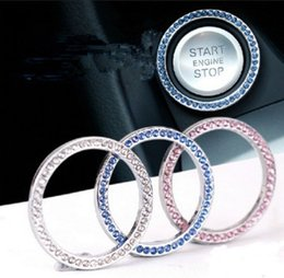 Crystal diamond stiCkers online shopping - Diamond Auto Start Engine Button Ring Crystal Rings Emblem Sticker Car One Button Start Ring Imitation Diamond Decorations Ring Key GGA2445
