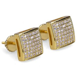 ice screws 2019 - New Custom Gold Silver Color hip Hop Iced Out Cubic Zircon Square Stud Earring with Block Screw Back Party Jewelry disco