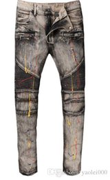 $enCountryForm.capitalKeyWord Australia - 2018 Europe and the United States high street fashion motorcycle pants do the old gray paint stitching Slim micro-embossed jeans
