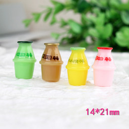Bottle Charms Wholesale Australia - Mix 100pcs 14*21MM DIY resin simulated drink juice Jelly bottle charms ornament pendants decoration fashion jewelry making material