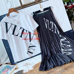 Linen Dress Suit Australia - 2019 summer dress women Tracksuit Cotton printed t-shirt+black Wild slim skirt woman 2pcs suit High quality women clothes BC-3