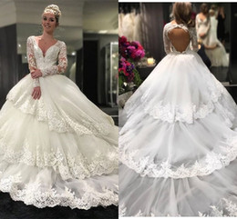 $enCountryForm.capitalKeyWord NZ - Three Layers Skirt Long Sleeve Wedding Dresses Ball Gowns Lace Dress V-neck Open Back Applique Ball Gown Wedding Dress Bridal Gowns Plus