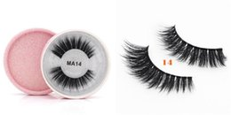mink eyelashes box UK - 24 Styles 3D Faux Mink Eyelashes False Mink Eyelashes 3D Silk Protein Lashes 100% Handmade Natural Fake Eye Lashes with Pink Gift Box MA14