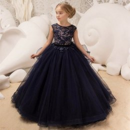 Wedding Vest Pink Australia - New Arrival Blush Pink Flower Girl's Dresses Lace Tiered Tulle Ball Gown Princess Floor Length Wedding Party Birthday Party Dresses