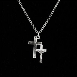 $enCountryForm.capitalKeyWord NZ - Double Cross Jesus God Necklace Pendant Tibetan Silver Alloy Jewelry Necklace Charm Fashion Personality Crafts Accessories Handmade