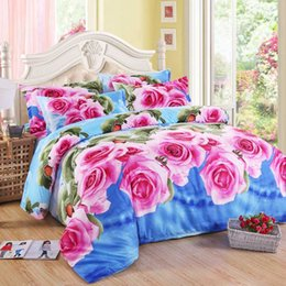 white bedding pink roses NZ - Hot Sale Pink Rose Flower Print Bedding Set Cotton Blue Bed Linen Duvet Cover Bed Sheet Pillowcase Twin Queen King Free Shipping