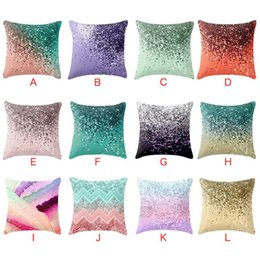 knit pillow patterns Australia - Gradient Glitter Pattern Decorative Pillowcases Marble Geometric Decor Cushion Covers Square Sofa Cushion Cover Household Pillow Case