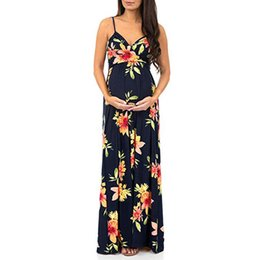 $enCountryForm.capitalKeyWord UK - Women Maternity Dresses Long Summer Elegant Floral Sleeveless Sexy Casual Nursing Dress Pregnant Clothes Vetement Femme 19may24