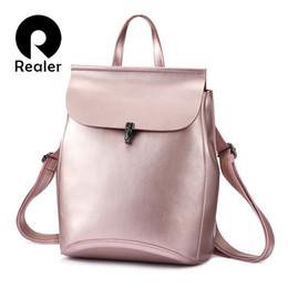 Styles Backpacks Australia - Realer Women Backpack Split Leather Backpack School Bag For Girls Teenagers Vintage Backpack Large Travel Female Shoulder Bag Y19061004