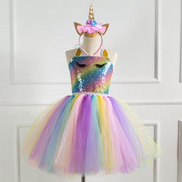 4t rainbow tutu Australia - Girls Princess Dress Up Children Sequin Top Rainbow Tulle Tutu Dress Kids Party Cosplay Costumes