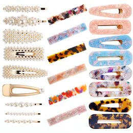 AsiAn girl blue hAir online shopping - 18 Styles Acetic Acid Hairpin Crystal Letter Hair Clip Pearl Bobby Pins Hair Accessories for Women Girls INS Fashion