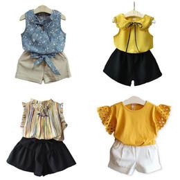 $enCountryForm.capitalKeyWord Australia - Girl summer princess set Sleeveless vest chiffon top + shorts pant 2pcs with bow Embroidered flower t-shirt children costumes kids clothing